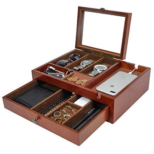 Homde Dresser Valet Organizer Wood Mens Storage Box