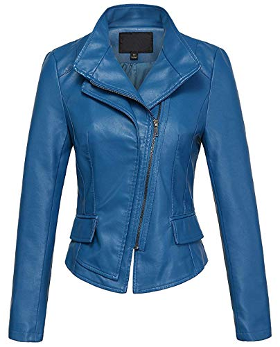 chouyatou Women's Stylish Oblique Zip Slim Faux Leather Biker Outerwear Jacket (Medium, Blue)