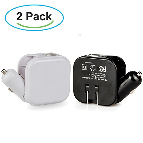 Car Charger, Dteck 2 in 1 Dual USB Wall Charger Fast Charge AC DC Power Adapter Travel Charger for Apple iPad Mini/Air, iPhone 7/6s Plus/5, Galaxy Tab, S7/6 Edge, LG ()