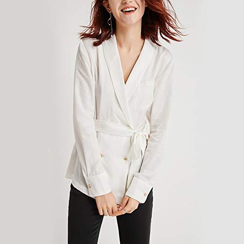 Moda Top Primavera Rame white Versatile Cintura Temperamento Donna Julia m Doppiopetto Camicia Ammoniaca ZRvxqqY