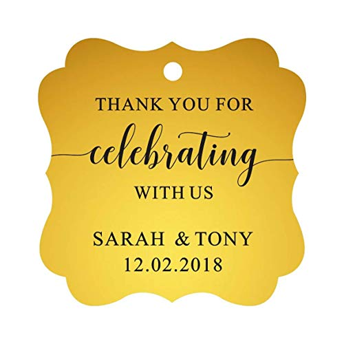 Darling Souvenir Fancy Frame Custom Paper Tags Thank You For Celebrating With Us Wedding Favor Gift Hang Tags-Metallic Gold-100 Tags ()