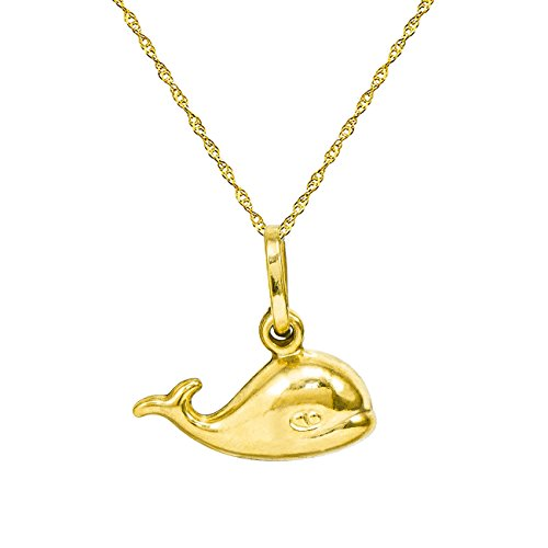 14K Yellow Gold Whale Pendant Necklace (16 Inches, Singapore Chain)