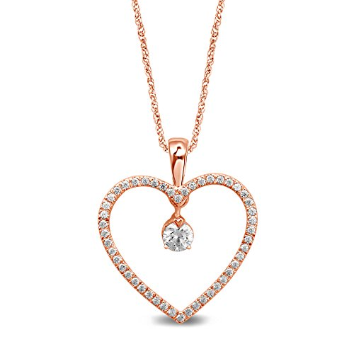 Diamond Jewel 10K Rose Gold Diamond 1/4 cttw Heart Pendant Necklace by Diamond Jewel