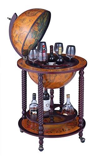 Home Bar Cabinetry VIDAR 17.7″ Globe Wine Bar Stand Sepia Vertical Four-Legged Hemp Sixteenth-Century Italian Replica Style Globe Bar Cart Cabinet on Wheels, 40″ Wine Cabinet home bar cabinetry