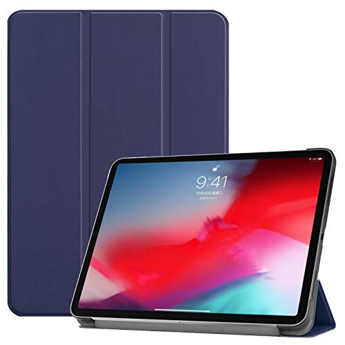 Teenystar iPad Pro 11 Case, Tri-Fold Shell Case Compatible with iPad Pro 11 Inch 2018 Release (Support 2nd Gen Apple Pencil Wireless Charging, Auto Wake/Sleep) - Navy Blue