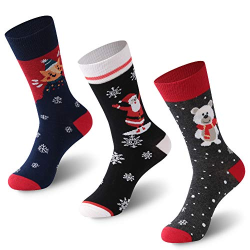 Festive Printed Socks, FOOTPLUS Unisex Cotton Comfortable Fun Colorful Printed Christmas Holiday Socks Novelty Socks, 3 Pairs Santa and Animals