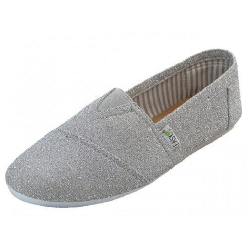 Shoes 18 Womens Canvas Slip on Shoes Flats 2 Tone 10 Colors (8, Silver 308L)