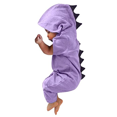 Clearance Toddler Infant Baby Boy Girl Clothes Dinosaur Hooded Romper Jumpsuit Sleepwear Outfits (Purple, 0-3 Months) from Aritone
