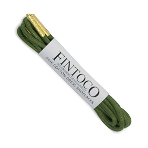 Fintoco Round Waxed Designer Dress Shoe Laces With Metal Tips Army Green With Gold Tips