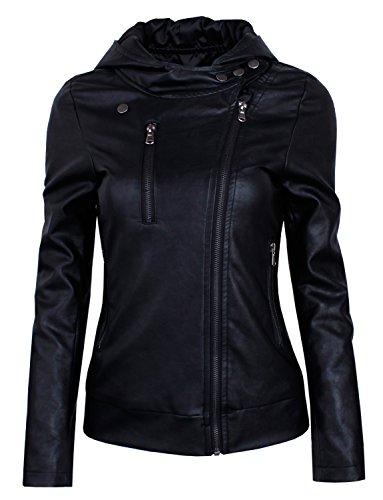HRYfashion Damen stylische Lederjacke Hoodie mit Reissverschluss HRYPJW01-BLACK-US L
