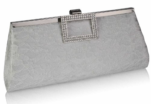 Satin Party Clutch Ivory Womens Designer Bag Diamante With Floral Lace Design Chain Handbag 1 Long Ladies S0nqIw