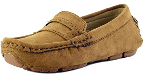 (PPXID Toddler Little Kid Big Kid's Girl's Boy's Suede Slip-on Loafers Shoes-Brown 5 US Size)