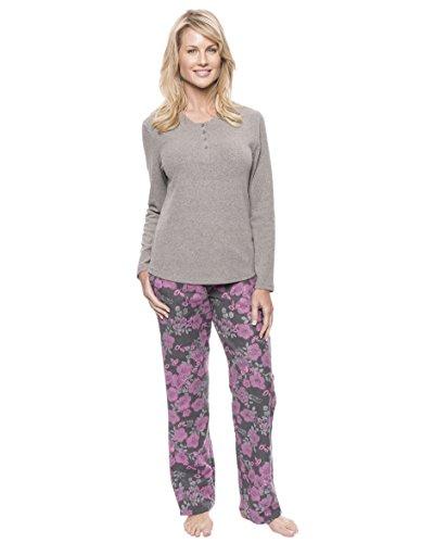 Noble Mount Women's Cotton Flannel Lounge Set - Floral Grey/Pink - X-Large