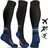 aZengear Compression Socks for Women & Men (20-30 mmHg) Best for Flight Travel, Running, Skiing, Athletics, Nurses, Shin Splints, Pregnancy & Improved Blood Circulation - Blue L/XL
