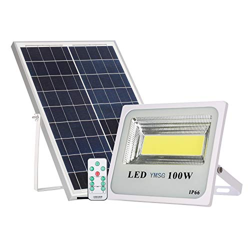 100W Solar Powered Street Flood Lights, 120 Leds 6000 Lumens Outdoor Led Solar Lights Waterproof IP66 with Remote Control Security Lighting for Yard, Garden, Gutter, Swimming pool, Pathway, Basketball