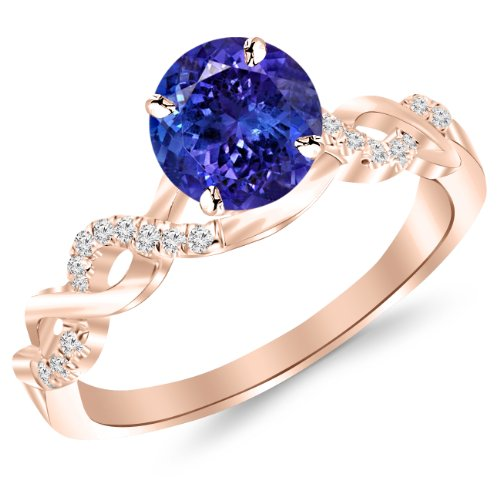 14K Rose Gold Twisting Infinity Gold and Diamond Split Shank Pave Set Diamond Engagement Ring with a 1 Carat Tanzanite AAA Heirloom Center Stone