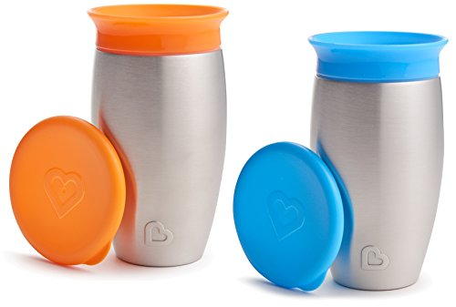 Munchkin 2 Pack Miracle 360 No Spill Sippy Cup, 10 Ounce, Orange/Blue