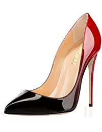 Pointy Toe Pumps for Women,Patent Gradient Animal Print...