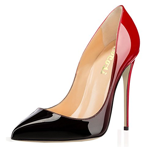 VOCOSI Pointy Toe Pumps for Women,Patent Gradient Animal Print High Heels Usual Dress Shoes Red-Black 8 US