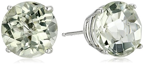 10k White Gold Round Checkerboard Cut Green Amethyst Stud Earrings (8mm)