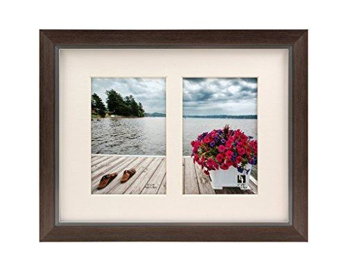 BorderTrends Legacy 8.5x11-Inch Double 4x6 Opening Collage Photo Frame, Silver with White -