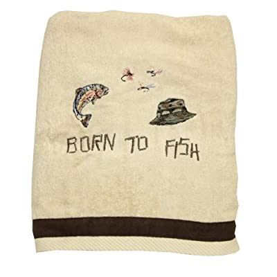 Bacova Guild Born to Fish Bath towel - Made of 100-Percent cotton Matching bath ensemble available Novelty pattern - bathroom-linens, bathroom, bath-towels - 41Vl4efdi8L. SS400  -