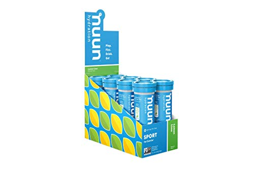 Nuun Sport: Electrolyte Tablets, Effervescent Hydration Supplement, Lemon Lime, Box of 8 Tubes (80 servings), Sports Drink for Replenishment of Essential Electrolytes Lost Through Sweat