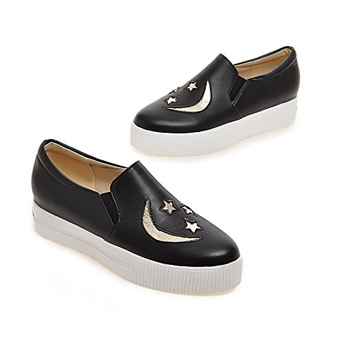 AmoonyFashion Womens Round Closed Toe Low Heels Pull On Solid Pumps-Shoes Black zcKJ6