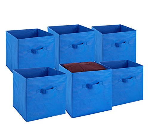 Foldable Cube Storage Bins - 6 Pack - These Decorative Fabric Storage Cubes are Collapsible and Great Organizer for Shelf, Closet or Underbed. Convenient for Clothes or Kids Toy Storage -