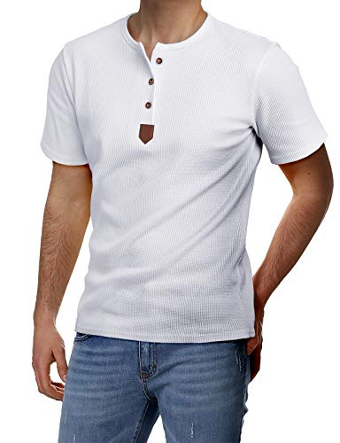 - H2H Mens Casual Half Sleeve Henley Pullover T-Shirts White US L/Asia XL (JDSK31)