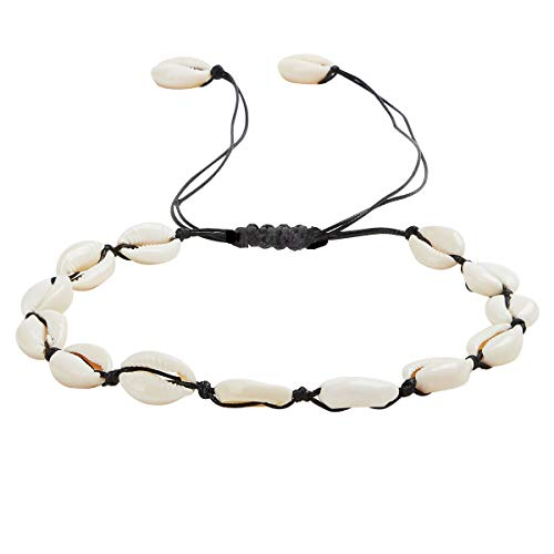 SUNSCSC Handmade Summer Beach Shell Conch White Velvet Rope Choker Necklace Adjustable Conch Shell Necklace Jewelry (Black Rope Pearl Shell) -