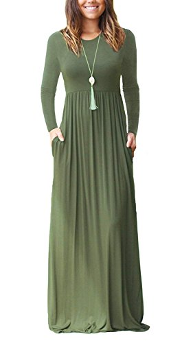 MISFAY Women's Long Sleeve Loose Plain Maxi Dresses Casual Long Dresses with Pockets (Army Green, L)
