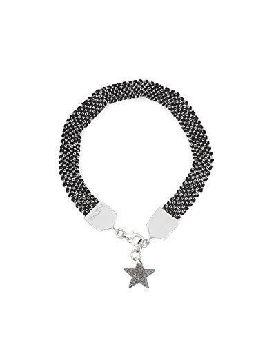 assya Bracelet tissé noir avec Star Charme de longueur 18cm