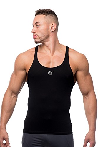 Jed North Bodybuilding Stringer Gym Tank Top Singlet Racerback, Small, Black