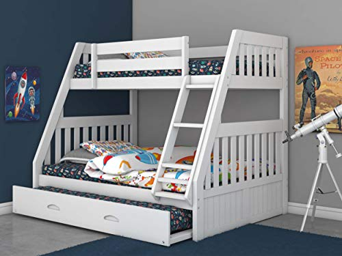 Discovery World Furniture Twin Over Full Bunk Bed with Trundle White