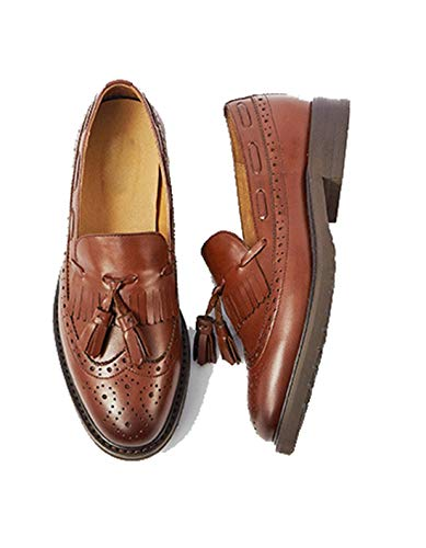 Zapatos Mujer Cordones Mgm Vintage joymod Style2 Casuales Cómodos Para Con Perforados Borlas Sin Clásicos Piel brown De Cp5qwS