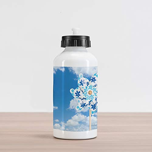 Lunarable Pinwheel Aluminum Water Bottle, Pinwheel Cloudy Sky Landscape Nature Cloudscape Sun Relax Seasonal Scenic Picture, Aluminum Insulated Spill-Proof Travel Sports Water Bottle, Blue White ()