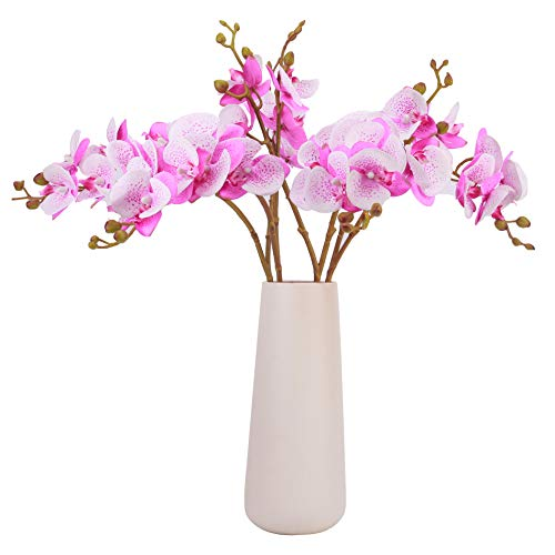 Bomarolan Artificial Butterfly Orchid Real Touch Double Branch Silk Flowers 4 Pcs for Wedding Home Party Hotel Decoration(Spotted ()