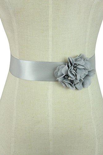 Lemandy Three Handmade Flowers Romantic Wedding Evening Dress Belts (Silver)