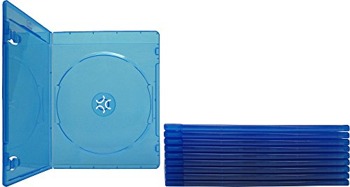 (10) 6mm Ultra Thin Single Slimline Blue Replacement Cases for Blu-Ray DVD Movies - Holds 1 Disc #DVBR06BR - Slimline Single Dvd Case
