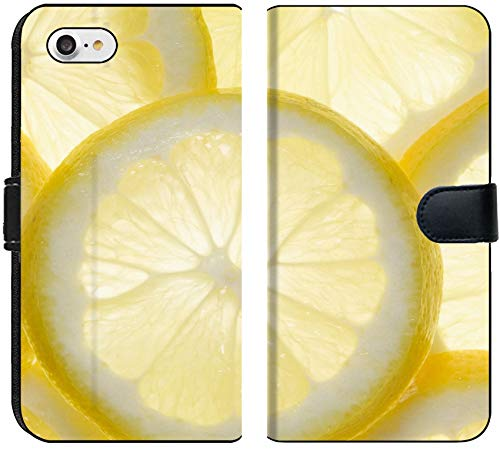 Apple iPhone 8 Flip Fabric Wallet Case Image of Lemon Fruit Citrus Food Vitamin Healthy Slice Juice Juicy Yellow Fresh Taste Sour Macro Background