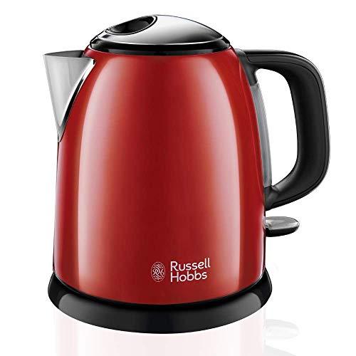 Russell Hobbs Colours Plus - Hervidor de Agua Electrico Pequeno (2400W, Hervidor de 1l, Kettle Inox, Rojo)-ref 24992-70