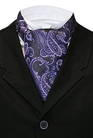 Downton Abbey Men's Fashion Guide Mens Satin Vivid Paisley Ascot $25.95 AT vintagedancer.com