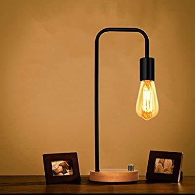 Oneach Industrial Desk Lamp Vintage Table Lamp Bedside Lamp for Living Room Bedroom Office Wooden Reading Lamp Black(Without Bulb)