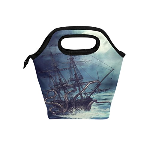 ALAZA Sea Monster Animal Insulated Lunch Tote Bag, A Pirate Ship Pulled Into Water By Octopus Tentacle Reusable Waterproof School Picnic Carrying Lunchbox Container For Women Men Boys Girls -