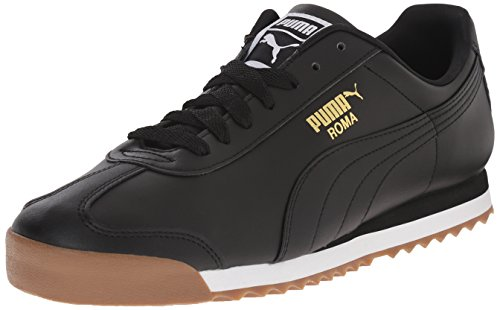 PUMA Men's Roma Basic Fashion Sneaker, Black/Black/Gum - 8.5 D(M) US