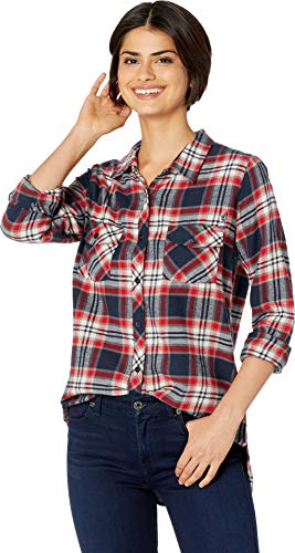 Volcom Junior's Women's Getting Rad Plaid Long Sleeve Flannel Shirt, sea Navy, Small