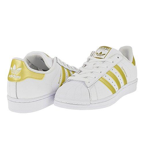 Price comparison product image adidas Originals Unisex-Kids Superstar J Sneaker, White/Gold Metallic/Blue, 5 M US Big Kid