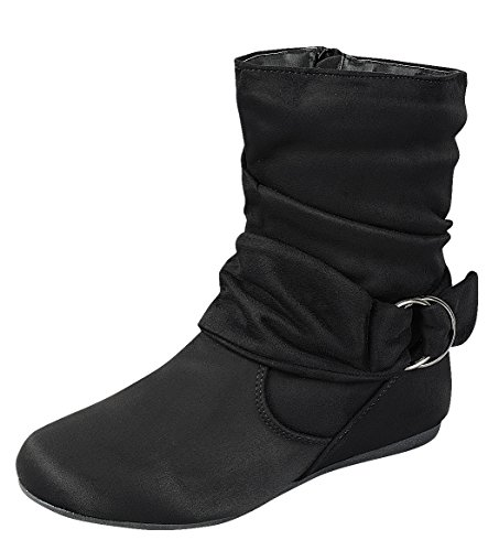 (Cambridge Select Women's Slouch Closed Round Toe Flat Heel Ankle Bootie (10 B(M) US, Black))