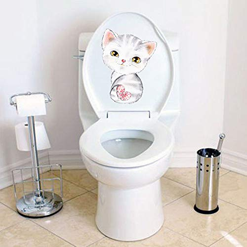 Toilet Wall Stickers, E-Scenery Cute Cat Peel and Stick DIY 3D Wall Decals Mural Art Wallpaper for Kids Room Home Nursery Party Window Decor (C) -